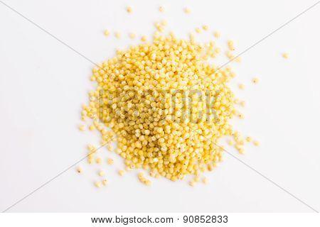 Heap Of Millet Groats On White