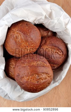 Fresh And Delicious Bread In A Paper Bag