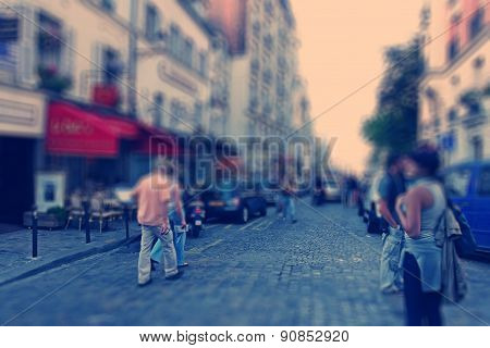 Abstract Background. Boulevard Montmartre In Paris - Radial Zoom Blur Effect Defocusing Filter Appli
