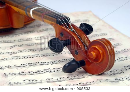 Violin Scroll With Miusic Sheet