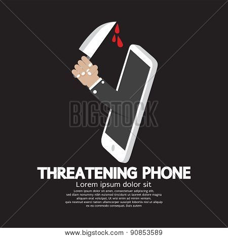Hand With Knife Threatening Phone Concept.