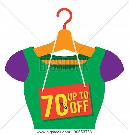 Woman Clothes On Hanger With Sale Tag.