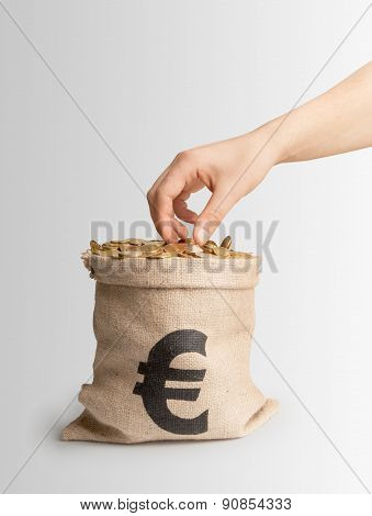 Hand Takes Coins From The Bag