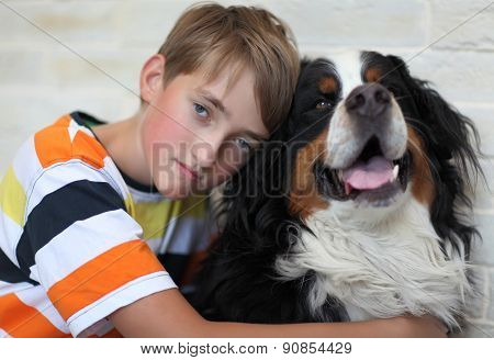 Sad child with the dog