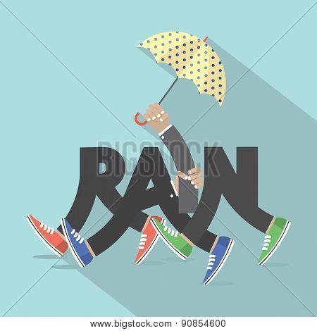 Rain With Legs And Umbrella Typography Design.