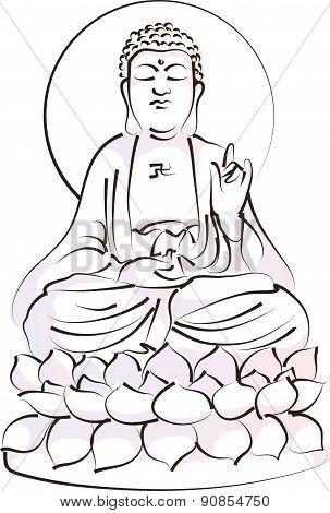 vector drawing buddha