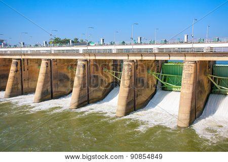 Water rushing through gates at a dam in Kanchanaburi province