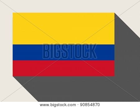 Colombia flag in flat web design style.
