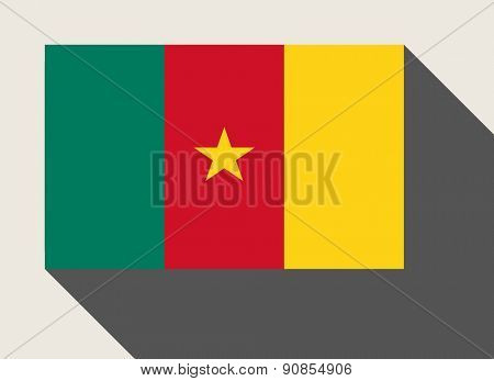 Cameroon flag in flat web design style.