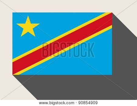 Democratic Republic of the Congo flag in flat web design style.