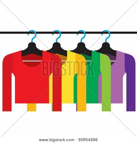 Colorful Long Sleeves Shirts With Hangers.