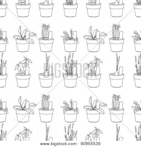 Seamless pattern with herbs and vegetables. Contour black and white.