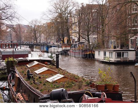 House boat on a canal in the Amsterdam