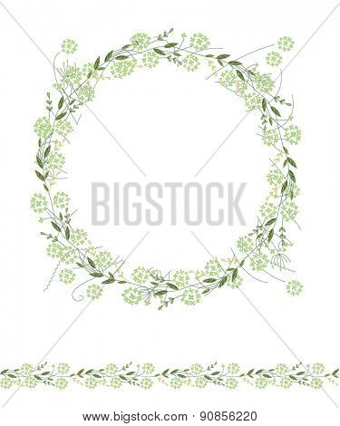 Detailed contour wreath and seamless pattern brush with herbs and wild flowers isolated on white. Endless horizontal texture for your design, greeting cards, announcements, posters.
