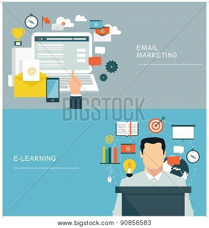 Flat design concepts for email marketing and e-learning