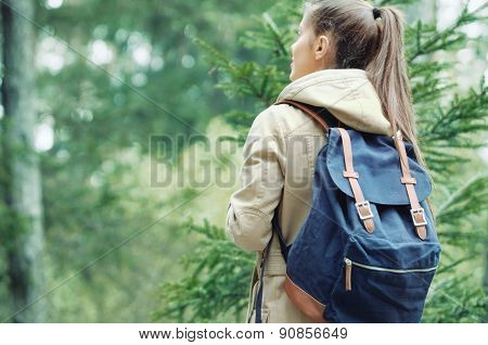 Young Woman Discovering Nature In The Forest Environment, Lifestyle Concept
