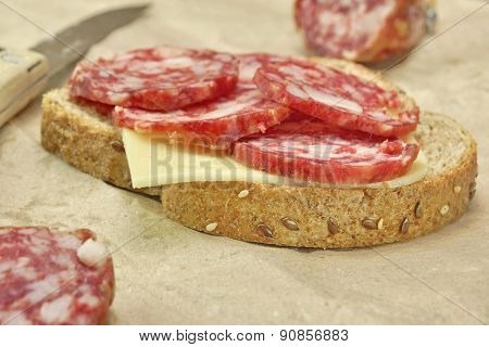 Simply Sandwich With Dried Smoked Sausages Slices And Cheese