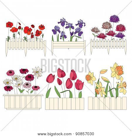 Flower pots with cultivated flowers. Decorative fence. Plants growing on window sills and balcony