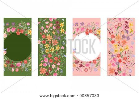 Vertical floral templates. Dark green and pink color