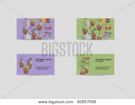 Two visitcards. Theme: gardening, plants and vegetables.