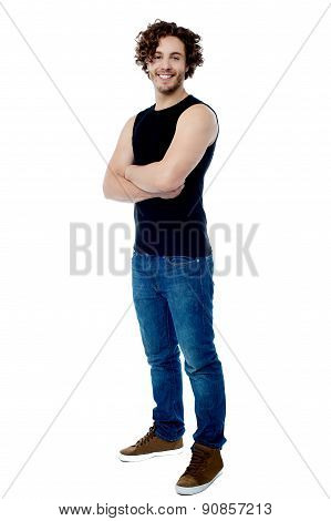 Handsome Man Posing With Folded Arms