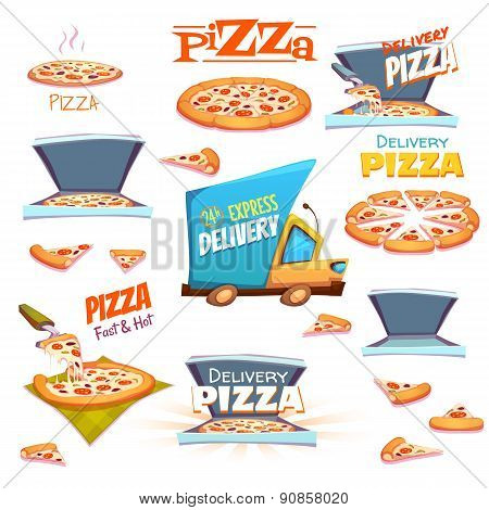 Vector set of Pizza icons, labels, signs, symbols and design elements
