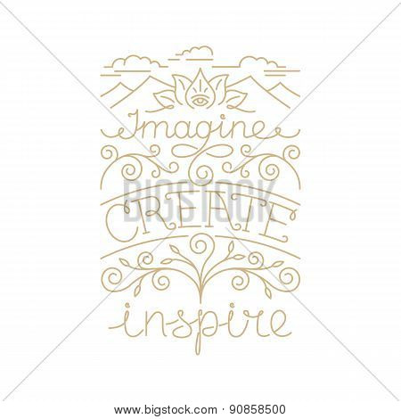 Vector Hand Lettering Poster In Linear Style