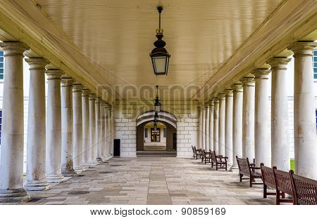 Colonnade In National Maritime Museum In Greenwich, England