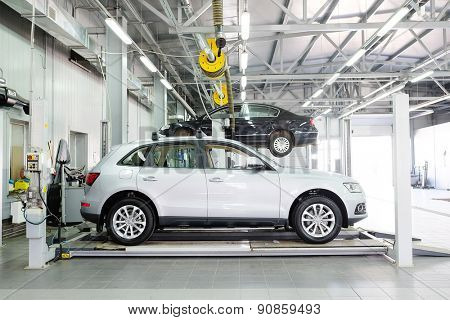 Tula, Russia, May, 8, 2015: Cars in a dealer's body shop in Tula, Russia