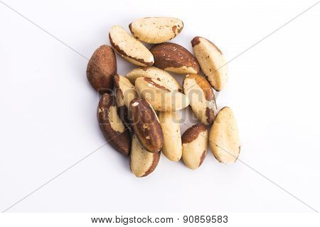 Brasil Nuts Isolated On White Background