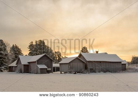 Group Of Old Snowy Farm Houses