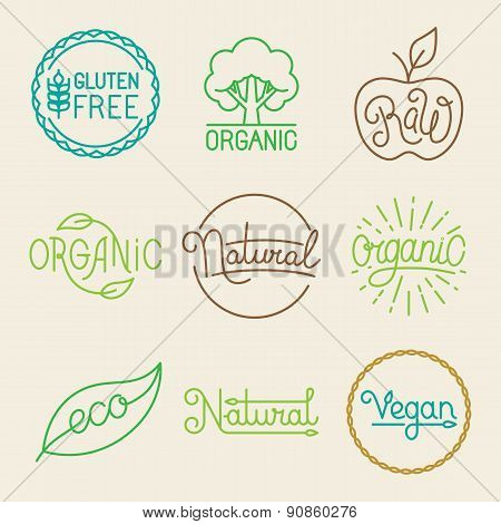 Vector Labels In Trendy Mono Line Style