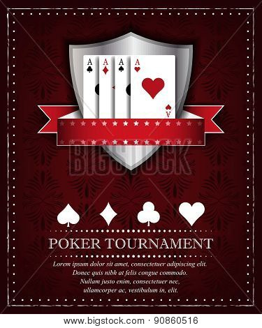 Poker background for tournament or presentation in retro style