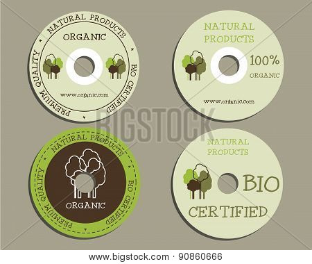 Organic CD, DVD templates. sign, icon. Compact, disc, symbol. For natural shop products and other bi