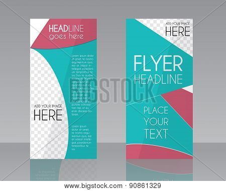 Vector Brochure Flyer design Layout template. Blue and pink stylish colors. Triangle abstract style.