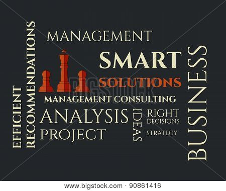 Smart solutions logo template with management Consulting keywords concept. Business background illus