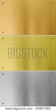 high quality silver, gold and bronze metal textures