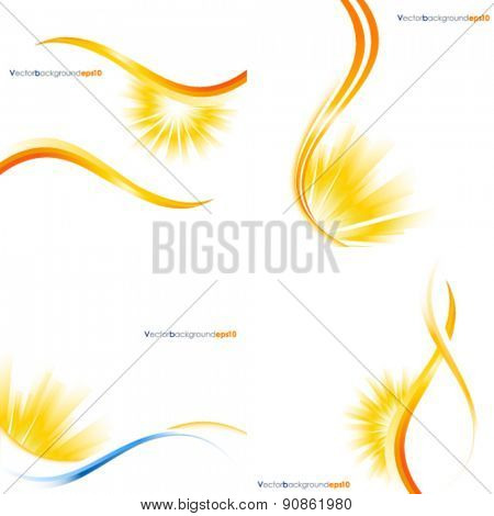 Yellow and white vector background with sun burst effect - set
