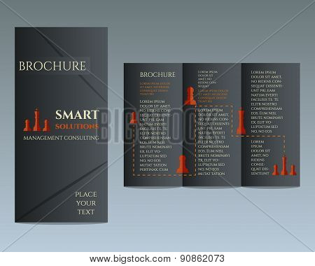 Business Brochure and flyer design template in polygonal style concerning to management, consulting