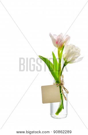 Pink Flower In Clear Bottle With Label On White Background