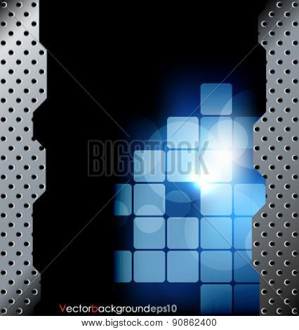 Blue and black vector abstract technology background with metal grid