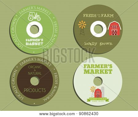 Organic farm CD, DVD templates. sign, icon. Compact, disc, symbol. For natural shop products and oth