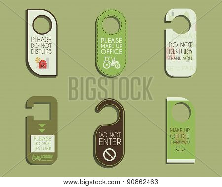 Organic farm, shop and other eco business Door knob or hanger sign set- do not disturb design. With
