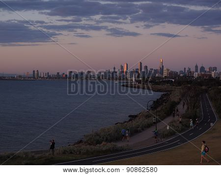 Melbourne Skyline And Bay at Dusk