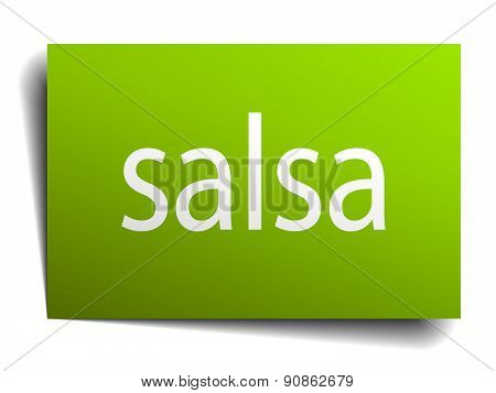 Salsa Square Paper Sign Isolated On White