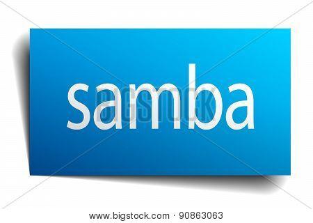 Samba Blue Paper Sign On White Background
