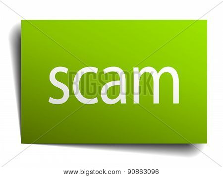 Scam Square Paper Sign Isolated On White