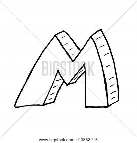 English Alphabet - Hand Drawn Letter M