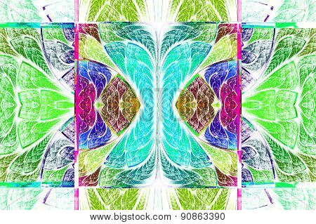 Multicolored Symmetrical Geometric Pattern In Stained Glass Style. On White.