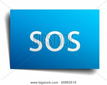 Sos Blue Paper Sign On White Background